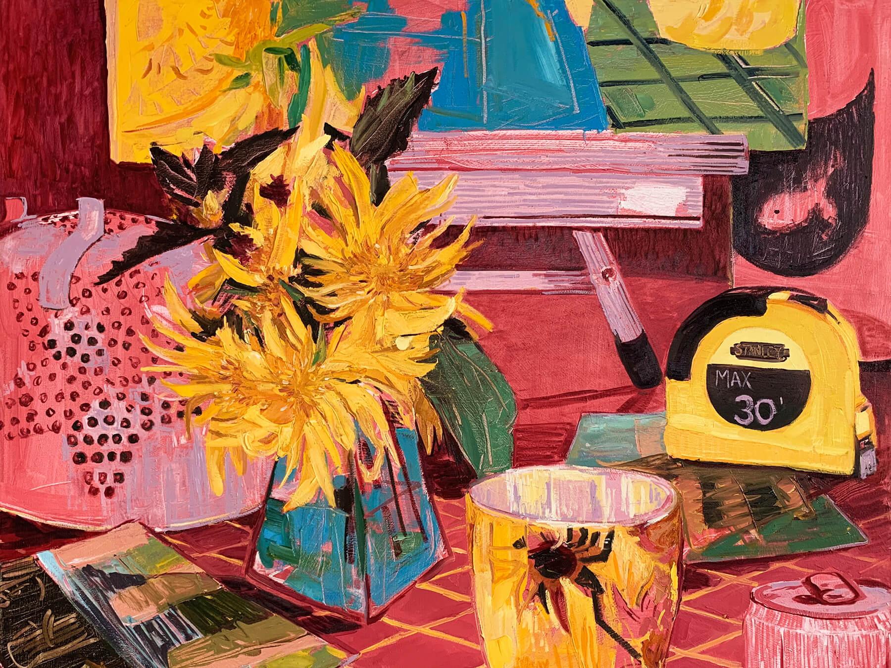 """Red Studio Still Life"" 2019, oil on canvas, 30"" x 36"""
